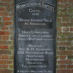 Monksthorpe Baptist Chapel - Notice Board